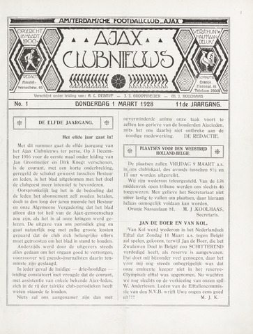 Clubnieuws Ajax (vanaf 1916) 1928-03-01