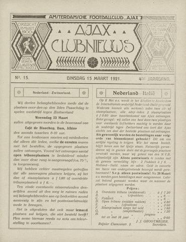 Clubnieuws Ajax (vanaf 1916) 1921-03-15