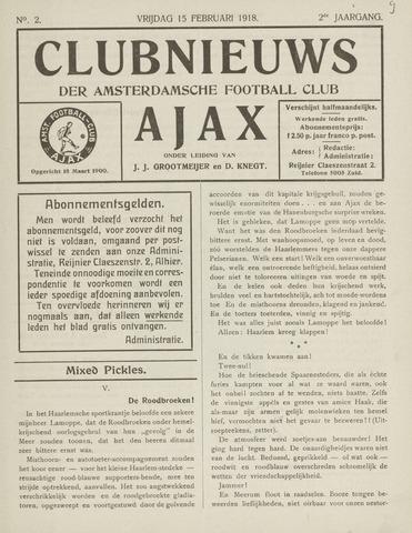 Clubnieuws Ajax (vanaf 1916) 1918-02-15