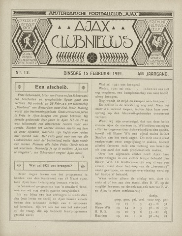 Clubnieuws Ajax (vanaf 1916) 1921-02-15