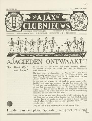 Clubnieuws Ajax (vanaf 1916) 1933-03-02
