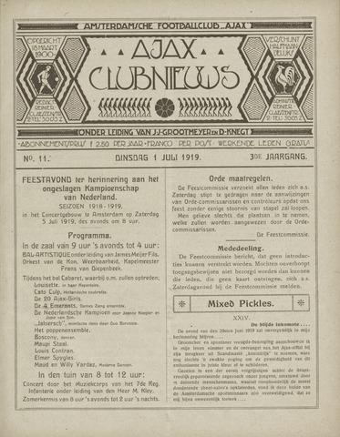Clubnieuws Ajax (vanaf 1916) 1919-07-01