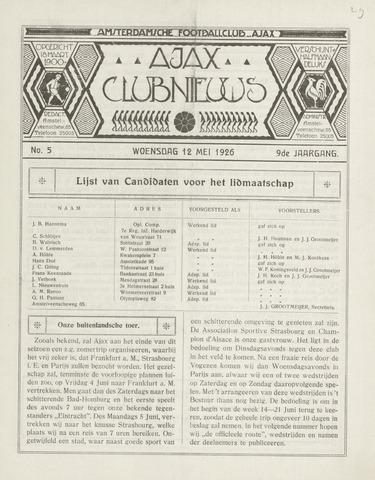 Clubnieuws Ajax (vanaf 1916) 1926-05-12