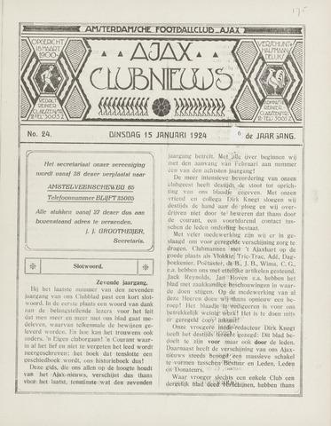 Clubnieuws Ajax (vanaf 1916) 1924-01-15