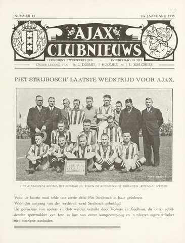Clubnieuws Ajax (vanaf 1916) 1933-05-18