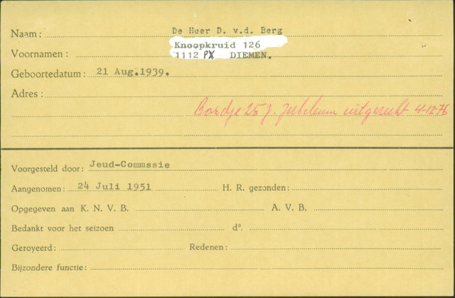Ledenkaarten (1911-1989) 1951
