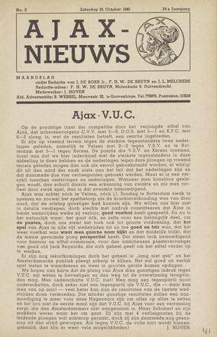 Clubnieuws Ajax (vanaf 1916) 1940-10-25