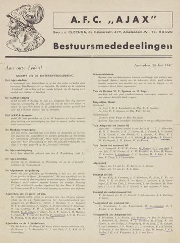 Clubnieuws Ajax (vanaf 1916) 1942-06-20