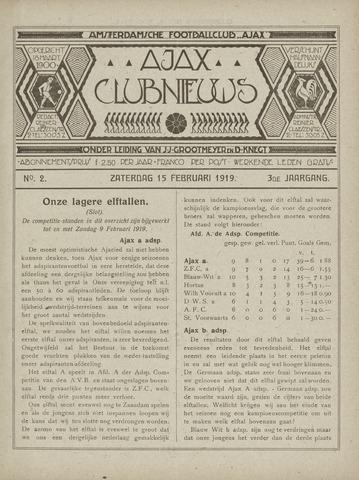 Clubnieuws Ajax (vanaf 1916) 1919-02-15