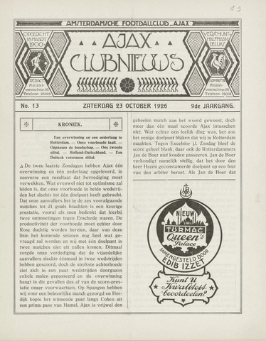 Clubnieuws Ajax (vanaf 1916) 1926-10-23