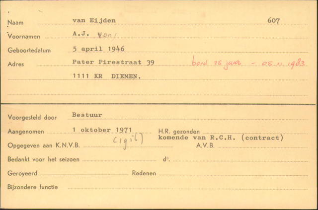 Ledenkaarten (1911-1989) 1971