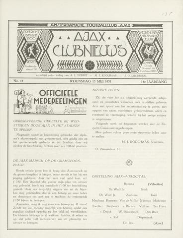 Clubnieuws Ajax (vanaf 1916) 1931-05-13