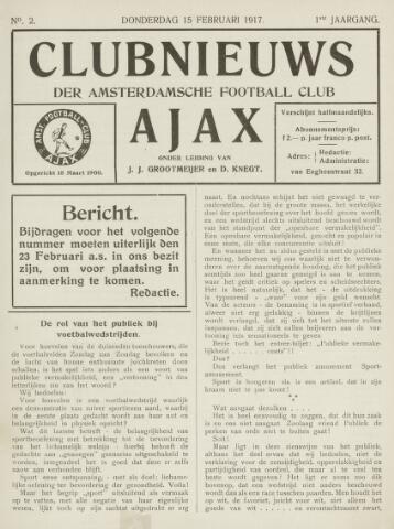 Clubnieuws Ajax (vanaf 1916) 1917-02-15