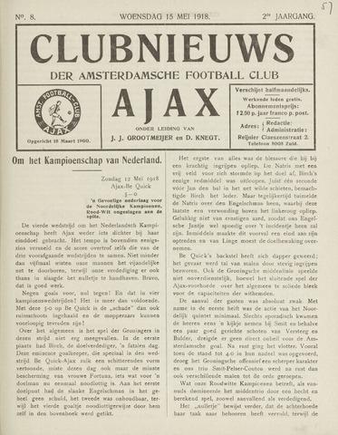 Clubnieuws Ajax (vanaf 1916) 1918-05-15