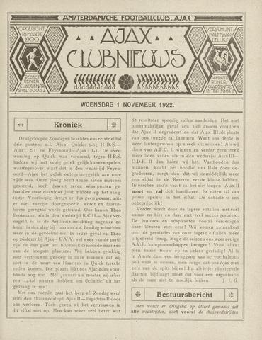 Clubnieuws Ajax (vanaf 1916) 1922-11-01