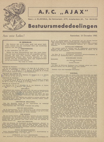 Clubnieuws Ajax (vanaf 1916) 1945-12-18