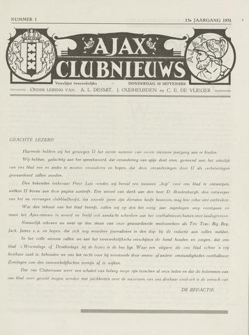 Clubnieuws Ajax (vanaf 1916) 1931-09-10