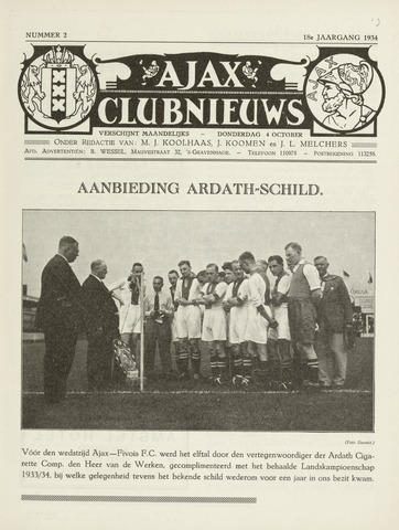 Clubnieuws Ajax (vanaf 1916) 1934-10-04
