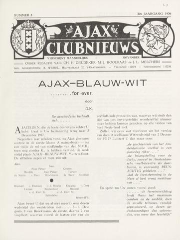 Clubnieuws Ajax (vanaf 1916) 1936-11-01