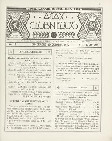 Clubnieuws Ajax (vanaf 1916) 1927-10-20