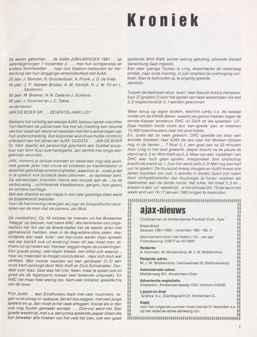 Clubnieuws Ajax (vanaf 1916) 1981-11-01