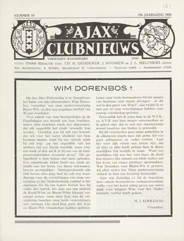 Clubnieuws Ajax (vanaf 1916) 1936-06-01