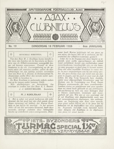 Clubnieuws Ajax (vanaf 1916) 1926-02-18