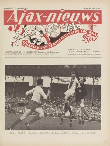 Clubnieuws Ajax (vanaf 1916) 1959-09-01