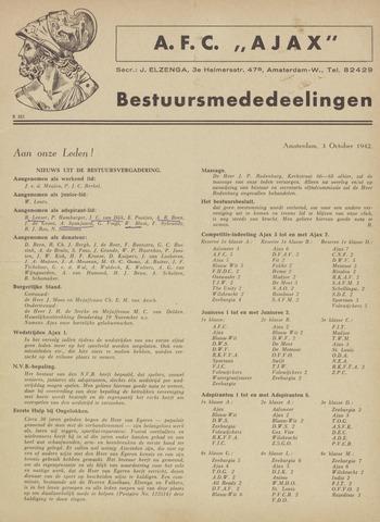 Clubnieuws Ajax (vanaf 1916) 1942-10-03