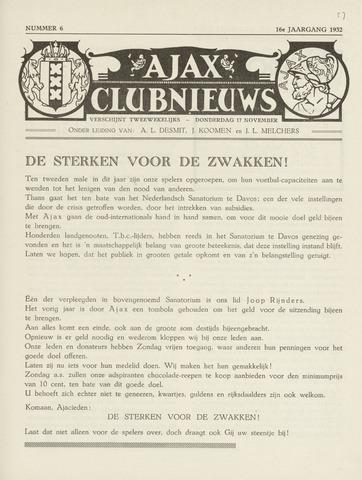 Clubnieuws Ajax (vanaf 1916) 1932-11-17