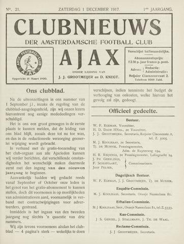 Clubnieuws Ajax (vanaf 1916) 1917-12-01