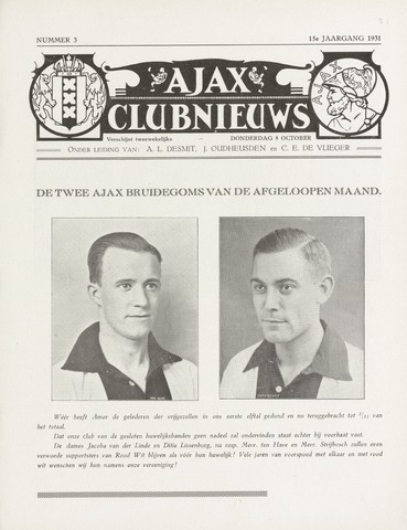 Clubnieuws Ajax (vanaf 1916) 1931-09-24