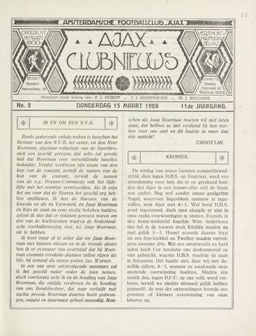 Clubnieuws Ajax (vanaf 1916) 1928-03-15