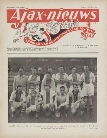 Clubnieuws Ajax (vanaf 1916) 1952-01-01