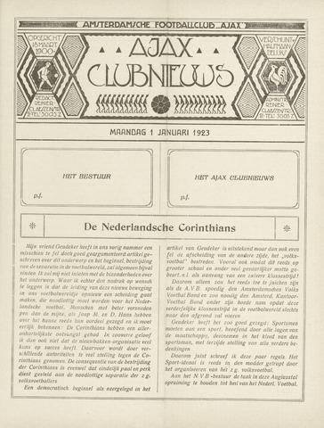 Clubnieuws Ajax (vanaf 1916) 1923-01-01