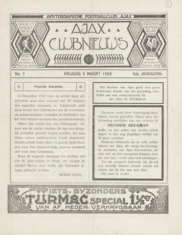 Clubnieuws Ajax (vanaf 1916) 1926-03-05