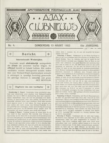 Clubnieuws Ajax (vanaf 1916) 1923-03-15