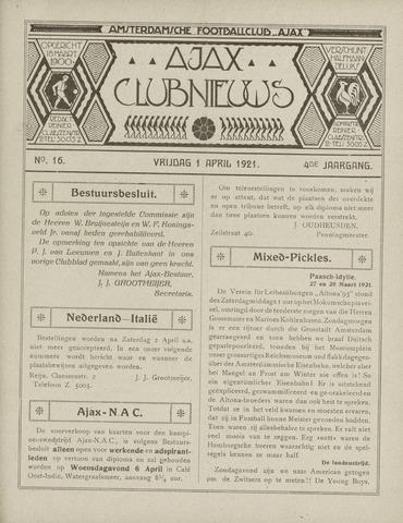 Clubnieuws Ajax (vanaf 1916) 1921-04-01
