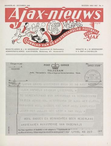 Clubnieuws Ajax (vanaf 1916) 1966-12-01
