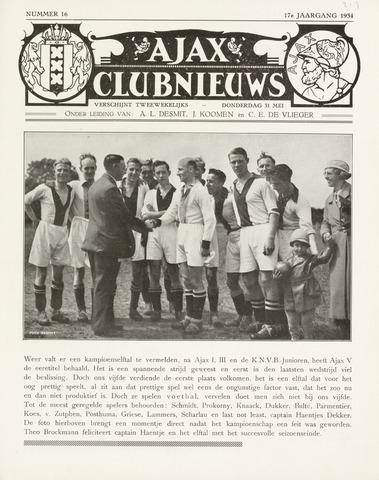 Clubnieuws Ajax (vanaf 1916) 1933-05-31
