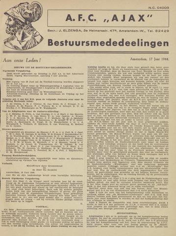 Clubnieuws Ajax (vanaf 1916) 1944-06-17