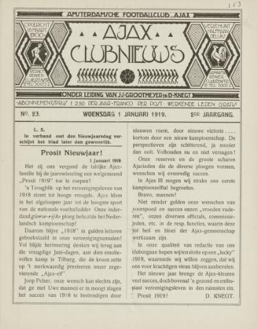 Clubnieuws Ajax (vanaf 1916) 1919-01-01