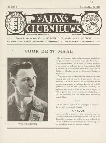 Clubnieuws Ajax (vanaf 1916) 1937-11-01