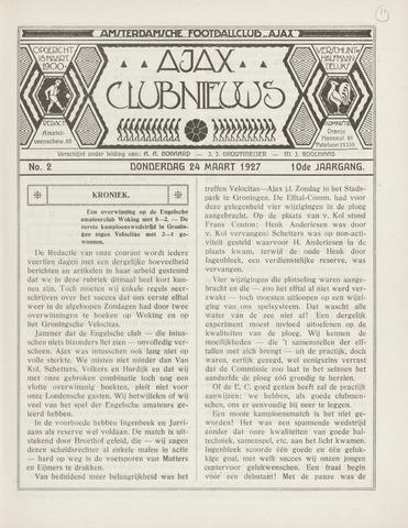 Clubnieuws Ajax (vanaf 1916) 1927-03-24