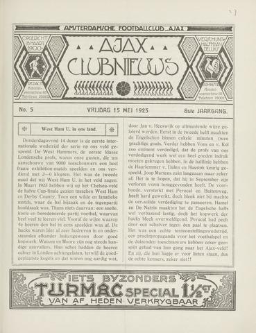 Clubnieuws Ajax (vanaf 1916) 1925-05-15