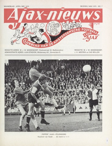 Clubnieuws Ajax (vanaf 1916) 1970-04-01