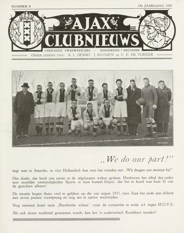 Clubnieuws Ajax (vanaf 1916) 1933-12-07