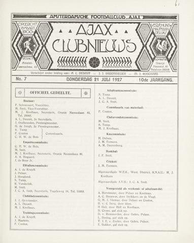 Clubnieuws Ajax (vanaf 1916) 1927-06-21