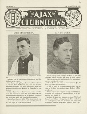 Clubnieuws Ajax (vanaf 1916) 1932-12-01