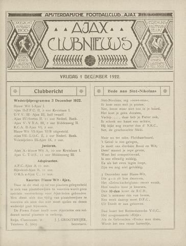 Clubnieuws Ajax (vanaf 1916) 1922-12-01